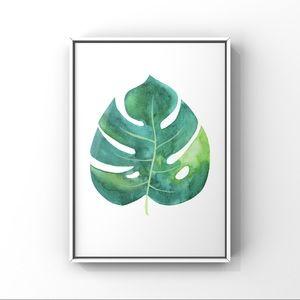 Large Monstera green leaves watercolor art print